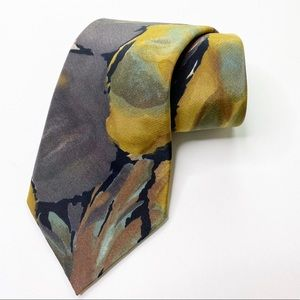 Vintage BBB NYC Tie Artistic 1980s 80's Yellow